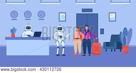 Robotic Cartoon Porter Helping Guests To Elevator In Hotel. Robot Receptionist Sitting At Desk, Lobb