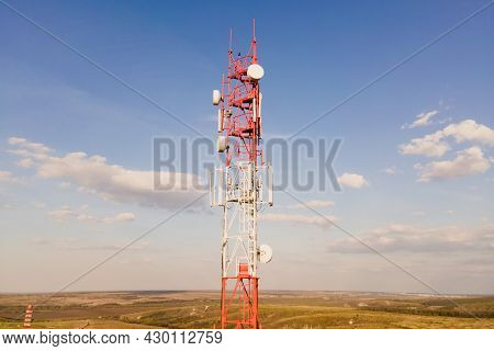 Telecommunication Antenna Receiver On Cell Phone Tower With 5g Base Station Transceiver, Aerial View