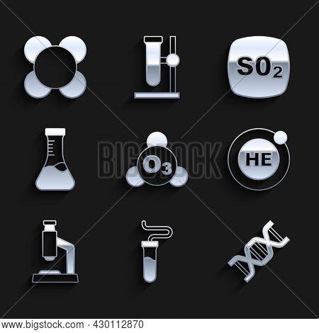 Set Ozone, Test Tube, Dna Symbol, Helium, Microscope, Sulfur Dioxide So2 And Molecule Icon. Vector