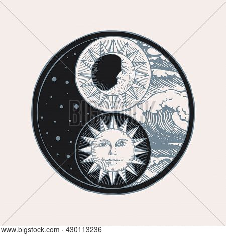 Vector Yin Yang Symbol With Sun, Moon, Stars And Sea Waves. Hand-drawn Stylized Sun And Moon With Hu