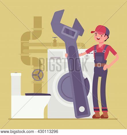 Young Plumber, Emergency Plumbing Service, Sanitary Toilet Work, Bathroom Fitting. Happy Skilled Han