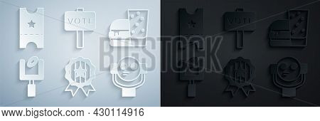 Set Medal With Star, Burger, American Football Goal Post, Tourist Binoculars, Vote And Baseball Tick