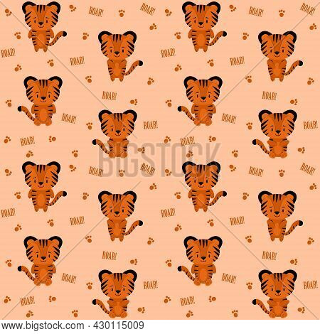 Pattern With Illustration Of Cute Tiger Cubs In Different Poses, Paw Prints And Roar Text. Vector