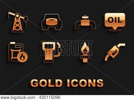 Set Petrol Or Gas Station, Word Oil, Gasoline Pump Nozzle, Oil Rig With Fire, Canister For Motor, Me