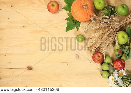 Thanksgiving Background, Harvest Concept, Autumn Composition With Fruits, Natural Berries, Pumpkins,