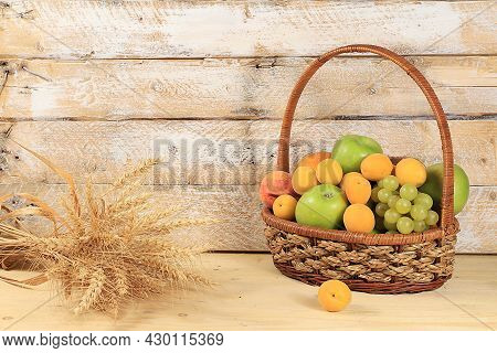 Harvest Concept, Thanksgiving Background, Autumn Composition With Fruits, Natural Berries, Apples, G