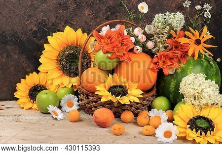 Thanksgiving Background, Harvest Concept, Autumn Composition With Fruits, Natural Berries, Melons, P