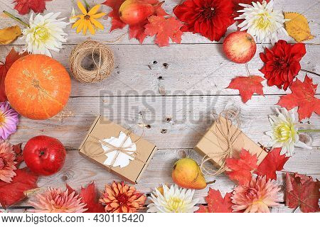 Happy Thanksgiving Concept, Postcard Autumn Background With Seasonal Pears, Pumpkins, Apples And Flo
