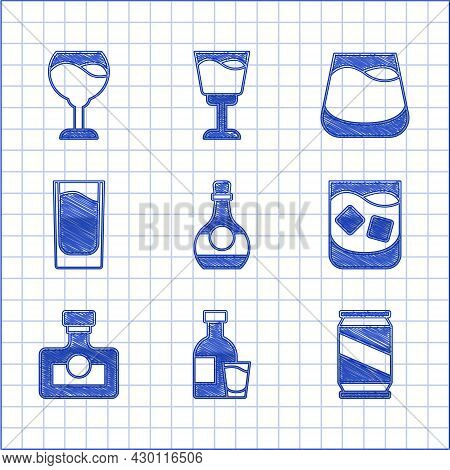 Set Bottle Of Cognac Or Brandy, Vodka With Glass, Beer Can, Glass Whiskey, Alcohol Drink Rum, Shot,
