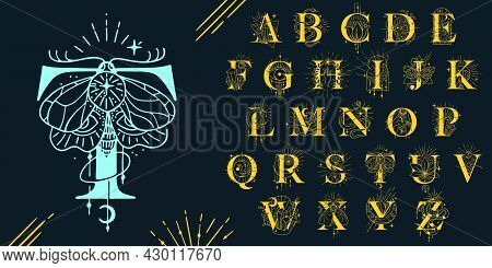 Alphabet In The Astrological Style. Hand Drawn Monogram For Magic Postcards, Medieval Style Posters,