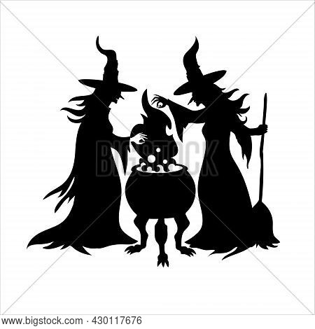 Black Silhouette Of Two Witches With A Cauldron. Happy Halloween Vector Clipart Illustration Of Witc