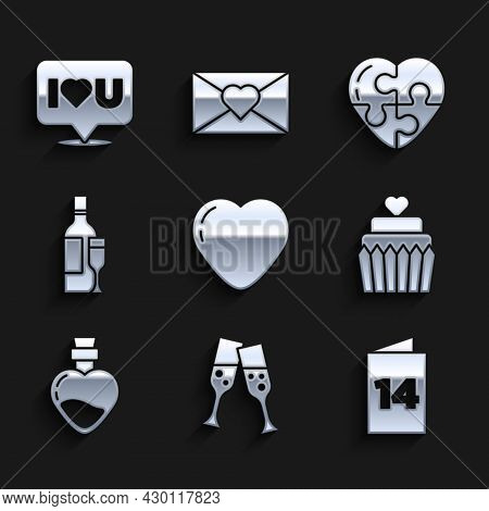 Set Heart, Glass Of Champagne, Greeting Card, Wedding Cake With Heart, Bottle Love Potion, Champagne