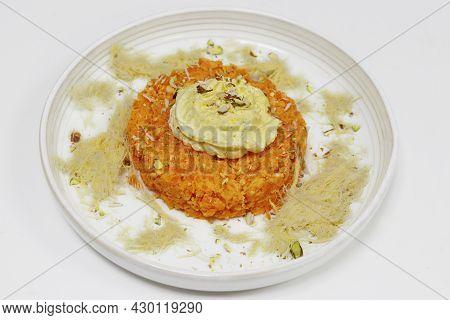 Carrot Halwa With Sweet Cream And Soan Papdi, Indian Sweet Food