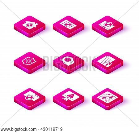 Set Document Folder Protection, Monitor With Exclamation Mark, Shield, Check In Speech Bubble, Graph