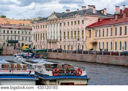 Saint Petersburg, Russia - August 2021: Stroganov Palace At Intersection Of Nevsky Prospect And Moik