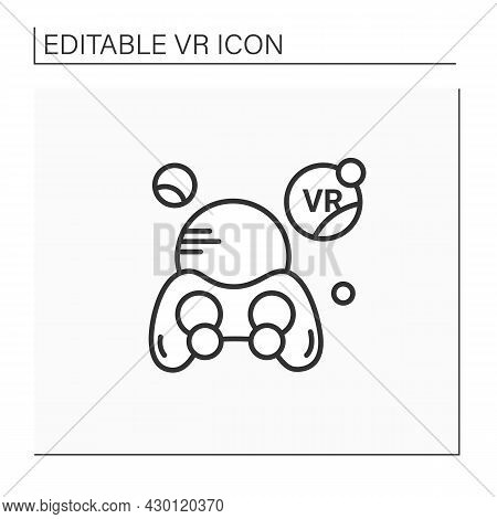 Virtual Reality Games Line Icon. Games With Vr Technology Gives Players Perspective Of Game Action.