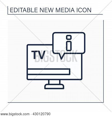 Tv Line Icon.telecommunication. Transmitting Moving Tv Shows, News Programs. Information Exchange.ne