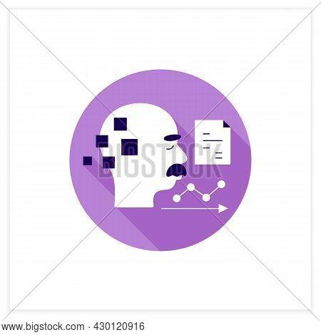 Statistics Flat Icon. Statistic Alzheimer Diseases. Sick People Number. Neurologic Disorder Concept.