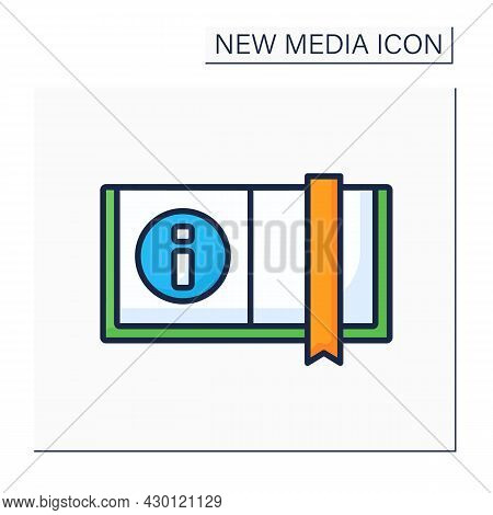 Book Color Icon. Opened Book With Bookmark. Information Source. Printed Sheets Of Paper. New Media C