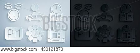 Set Time Management, Is Money, Day Time, Project Plan, To Travel And Clock Icon. Vector