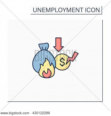 Lost Savings Color Icon. Money On Bank Account. Investition. Bankrupt. Unemployment Concept. Isolate