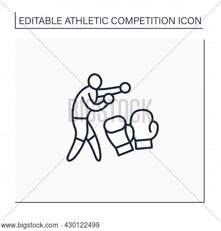 Sport Line Icon. Combat Sport.person In Protective Gloves Throw Punches. Boxing Ring. Athletic Compe