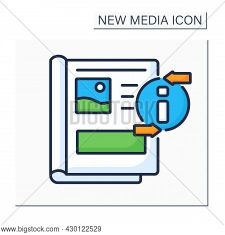 Magazine Color Icon. Periodical Publication. Articles For Everyone. Information Space. Important New