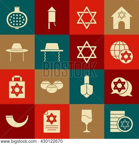 Set Jewish Coin, Star Of David, World Globe And Israel, Orthodox Jewish Hat, Pomegranate And Icon. V
