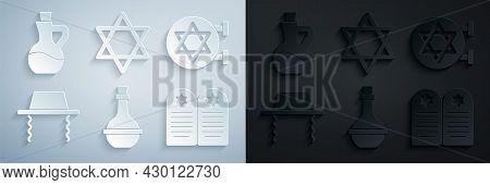 Set Jewish Wine Bottle, Synagogue, Orthodox Jewish Hat, Tombstone With Star Of David, Star David And