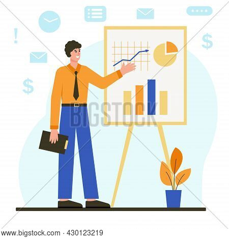 Businessman Stands Next To Flipchart With Graph And Chart. Man Presents Marketing Data On Presentati
