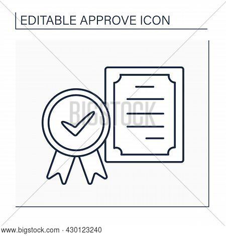 Approved Certificate Line Icon. Law Approved Document. Doc About Acquired Skills, Inspected Products