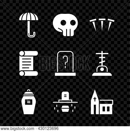 Set Umbrella, Skull, Metallic Nails, Funeral Urn, Grave With Coffin, Church Building, Decree, Parchm
