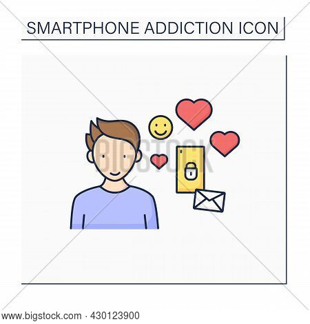 Virtual Relationship Color Icon. Online Love Story. Pen Pal Relationships.couple Only In Messengers.