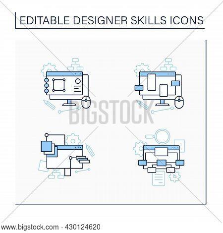 Designer Skills Line Icons Set. Generate Ideas.ux Design, Information Architecture, Common Design Pa