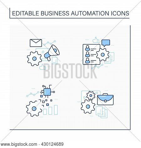 Business Automation Line Icons Set. Hr Onboarding, Marketing Automation, Implementing Business, Digi
