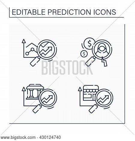 Predictive Analytics Line Icons Set. Banking, Retail Predictive Analytics, Detecting Fraud. Business