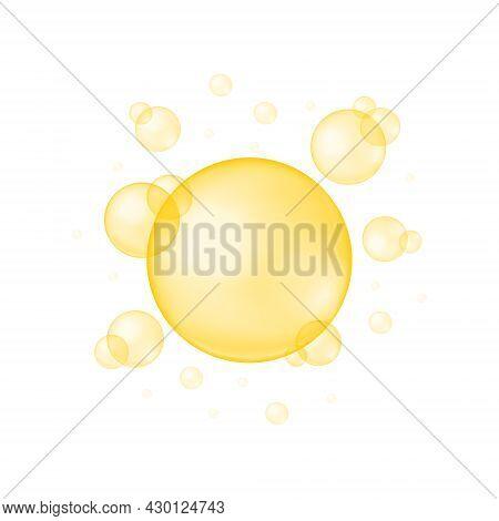 Gold Glossy Bubbles On White Background. Collagen Droplets, Keratin, Serum, Jojoba Cosmetic Oil, Vit