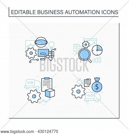 Business Automation Line Icons Set. Purchase Orders, Robotizing, Timely Analytics, Automatic Account