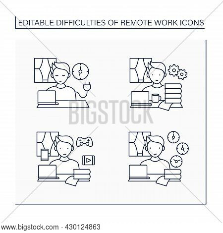 Remote Work Line Icons Set. Unplugging After Work, Overworking, Distractions At Home, Time Zone Diff