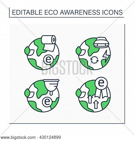 Eco Awareness Line Icons Set. Menstrual Cup, Electric Car, Toilet Paper, Eco Excellence. Ecology Con