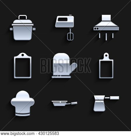 Set Oven Glove, Frying Pan, Coffee Turk, Cutting Board, Chef Hat, Kitchen Extractor Fan And Cooking