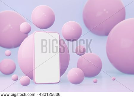 A Mockup Of A Smartphone With An Empty White Screen On A Pink Background Among The Spheres. 3d Rende