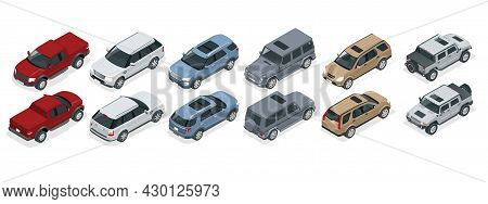 Isometric Realistic Suv Cars Set Template On White Background. Compact Crossover, Truck, Pickup, Suv
