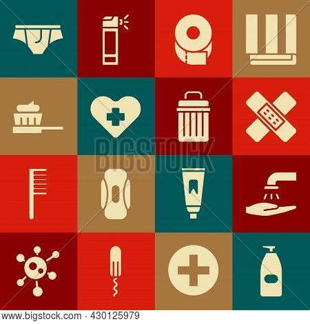 Set Bottle Of Liquid Antibacterial Soap, Washing Hands With, Crossed Bandage Plaster, Toilet Paper R