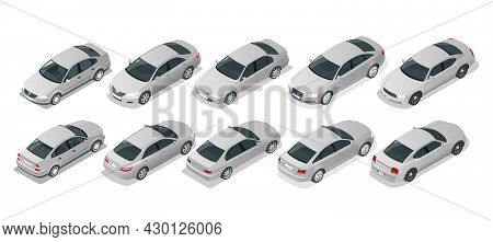 Isometric Car Sedan. Automobile Set. Urban Transport. Silver Sedan Car On White Background