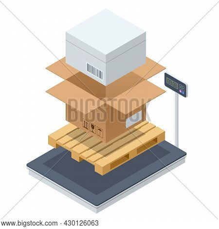 Warehouse Scale With Parcel. Scales For Weighing Heavy Objects And Goods. Box And Cargo, Package And