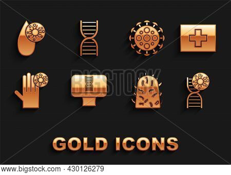 Set Dna Spiral And Computer, First Aid Kit, Symbol Virus, Rabies, Hand With, Virus, Blood Test And I