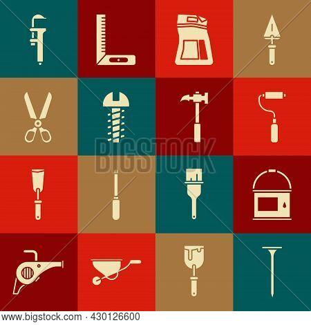 Set Metallic Nail, Paint Bucket, Roller Brush, Cement Bag, Screw, Scissors, Calliper Caliper And Sca