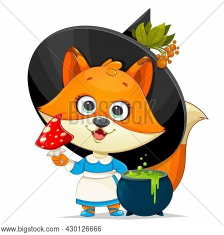 Happy Halloween. Cute Foxy Witch. Funny Witch Fox With Fly Agaric And Cauldron With Potion. Stock Ve