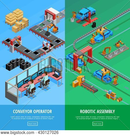 Conveyor Operator And Automotive Manufacture Robotic Assembly Line 2 Isometric Vertical Banners Webp